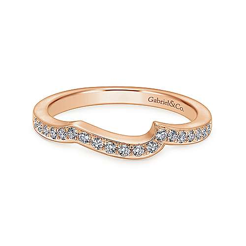 14k Pink Gold Contemporary Curved