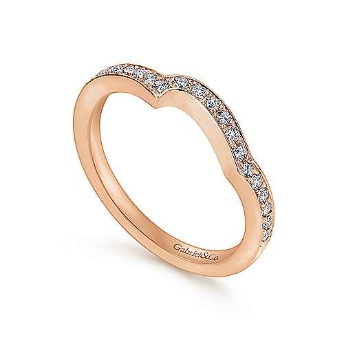 14k Pink Gold Diamond Curved Wedding Band angle 3