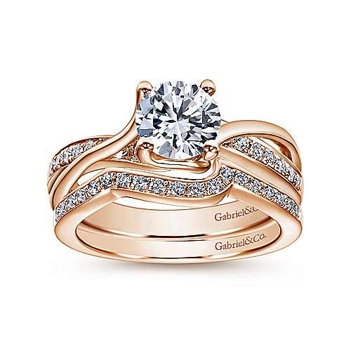 14k Pink Gold Diamond Curved Wedding Band angle 4