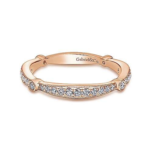 14k Pink Gold Diamond Curved