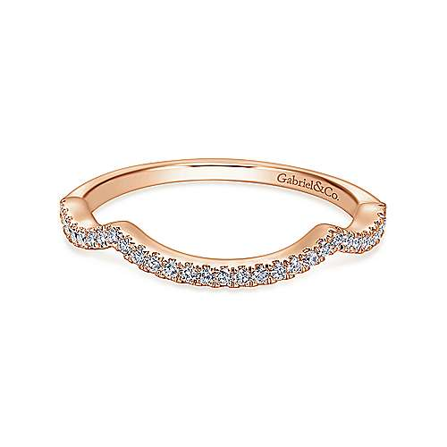 14k Pink Gold Diamond Curved Wedding Band angle 1