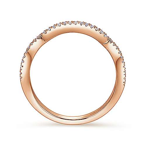 14k Pink Gold Diamond Curved Wedding Band angle 2