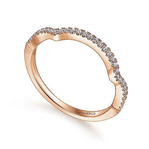 14k Pink Gold Diamond Curved Wedding Band angle 3