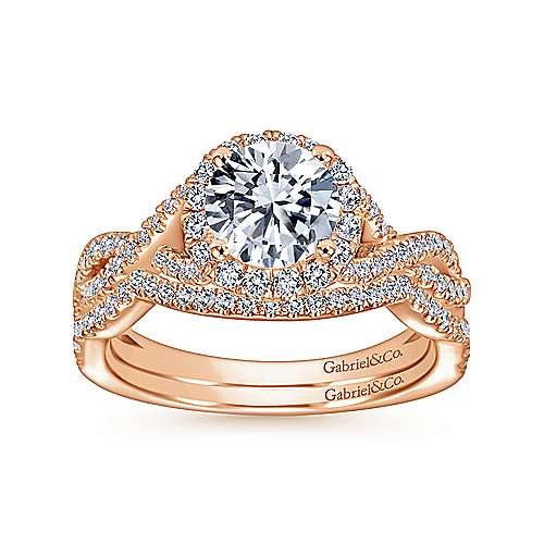 14k Pink Gold Diamond Curved Wedding Band angle 4