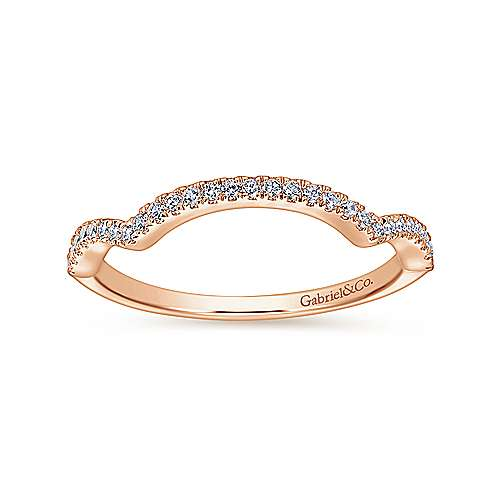 14k Pink Gold Diamond Curved Wedding Band angle 5