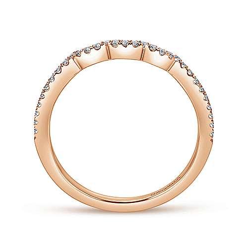 14k Pink Gold Diamond Curved Wedding Band angle 2