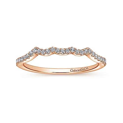 14k Pink Gold Diamond Curved Wedding Band angle 5