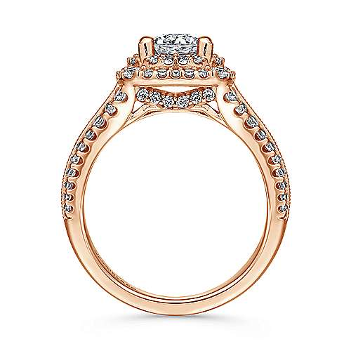 14k Pink Gold Diamond Double Halo Engagement Ring angle 2