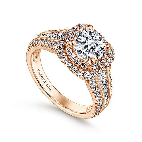 14k Pink Gold Diamond Double Halo Engagement Ring angle 3