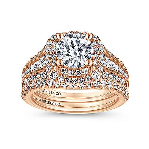 14k Pink Gold Diamond Double Halo Engagement Ring angle 4