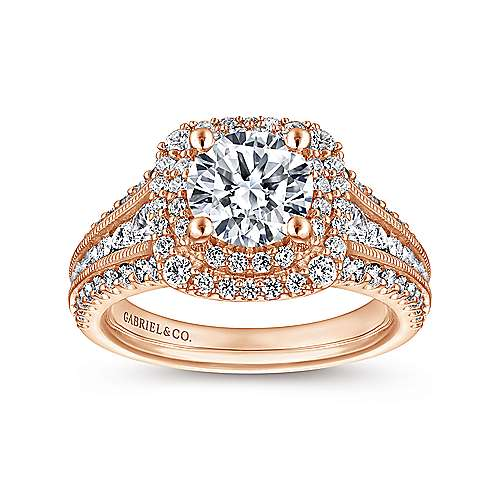 14k Pink Gold Diamond Double Halo Engagement Ring angle 5