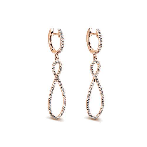 14k Pink Gold Diamond Drop Earrings angle 2