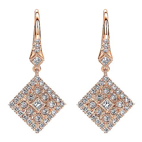 Gabriel - 14k Pink Gold Clustered Diamonds Drop Earrings