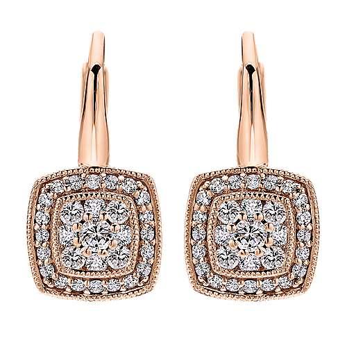 Gabriel - 14k Pink Gold Victorian Drop Earrings
