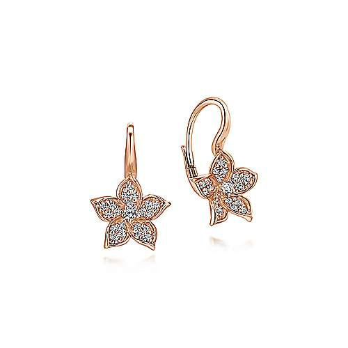 Gabriel - 14k Pink Gold Floral Drop Earrings