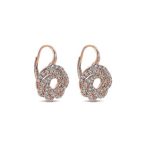 14k Pink Gold Diamond Drop Earrings angle 2