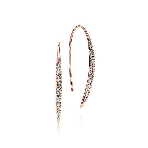 14k Pink Gold Diamond Drop Earrings angle 1