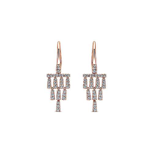 Gabriel - 14k Pink Gold Lusso Diamond Drop Earrings
