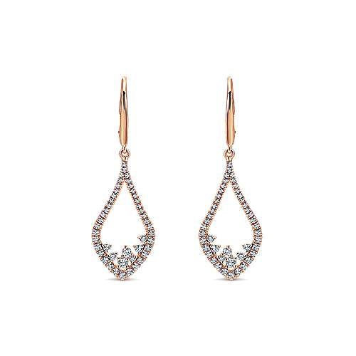 Gabriel - 14k Pink Gold Lusso Diamond Drop Earrings