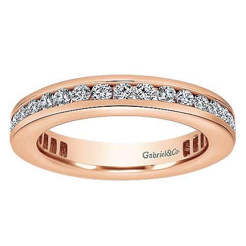 14k Pink Gold Diamond Eternity Anniversary Band angle 5