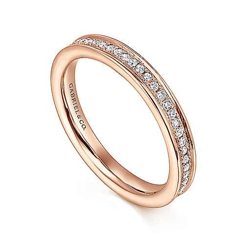 14k Pink Gold Diamond Eternity Anniversary Band angle 3