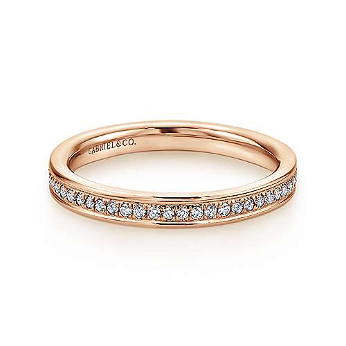 14k Pink Gold Contemporary Eternity Band