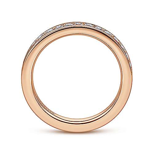 14k Pink Gold Diamond Eternity Band Anniversary Band angle 2