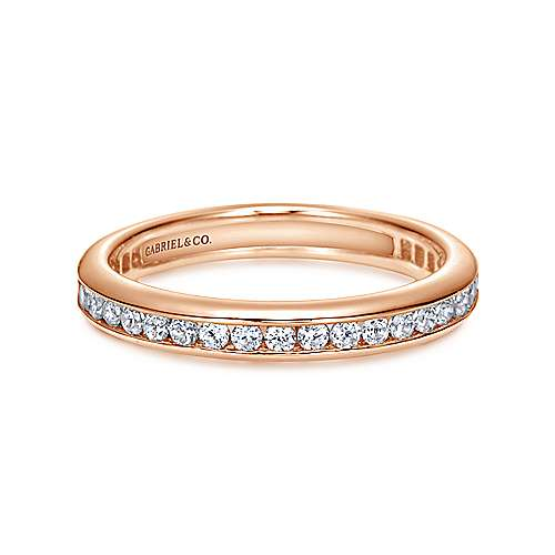 14k Pink Gold Diamond Eternity Band Anniversary Band angle 1