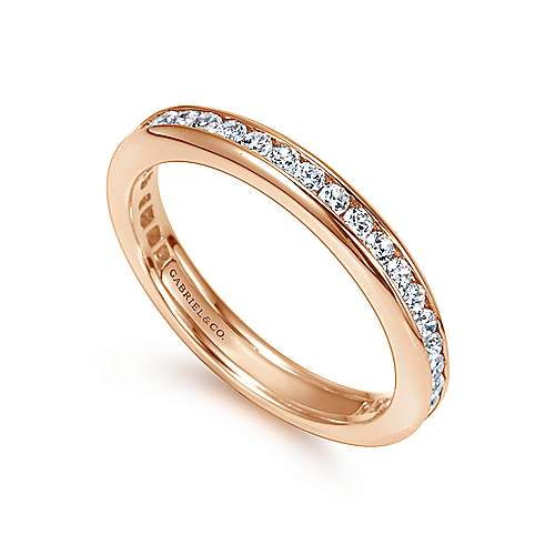 14k Pink Gold Diamond Eternity Band Anniversary Band angle 3