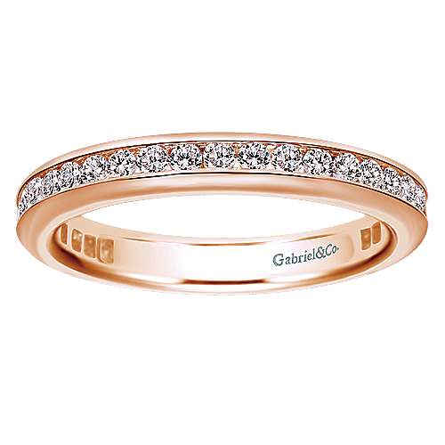14k Pink Gold Diamond Eternity Band Anniversary Band angle 5