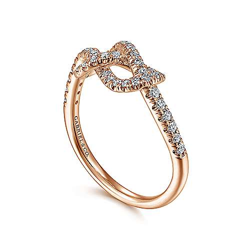 14k Pink Gold Diamond Fashion Ladies