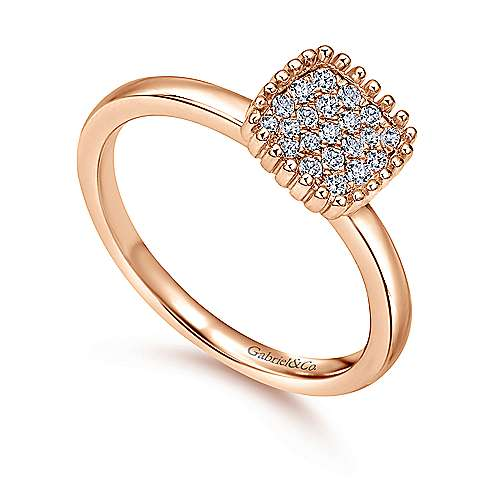 14k Pink Gold Diamond Fashion Ladies