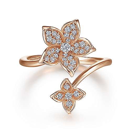 14k Pink Gold Floral Fashion