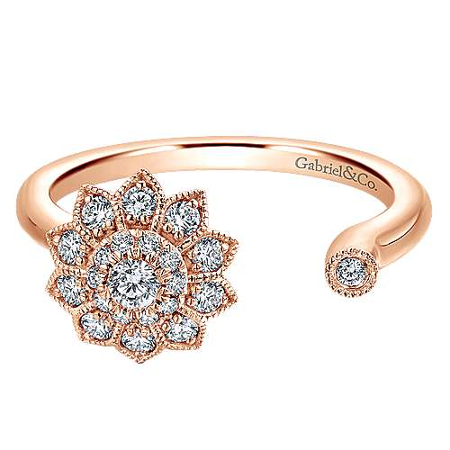 Gabriel - 14k Pink Gold Clustered Diamonds Fashion Ladies' Ring