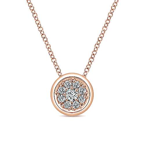 14k Pink Gold Clustered Diamonds Fashion