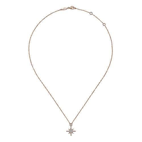 14k Pink Gold Diamond Fashion Necklace angle 2