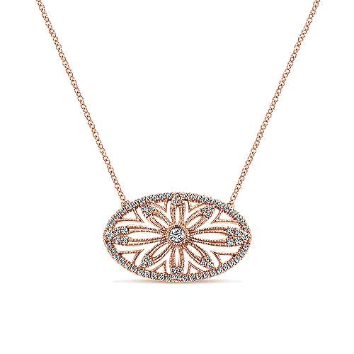 Gabriel - 14k Pink Gold Victorian Fashion Necklace