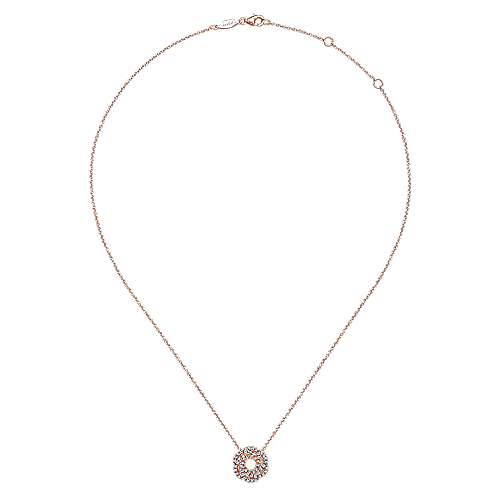 14k Pink Gold Diamond Fashion Necklace angle 2