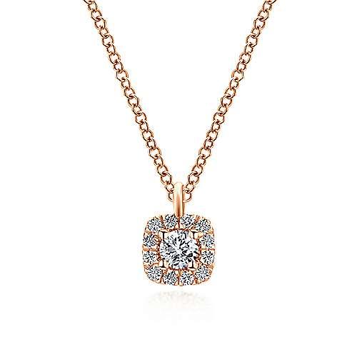 Gabriel - 14k Pink Gold Clustered Diamonds Fashion Necklace