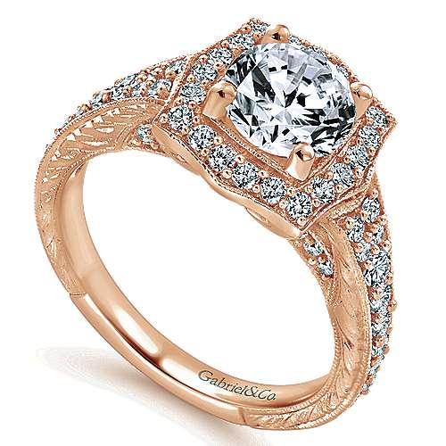 14k Pink Gold Diamond Halo Engagement Ring angle 3