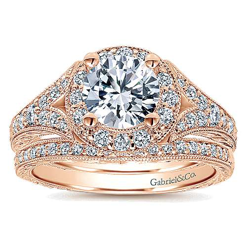 14k Pink Gold Diamond Halo Engagement Ring angle 4