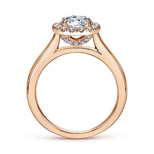 14k Pink Gold Diamond Halo Engagement Ring angle 2