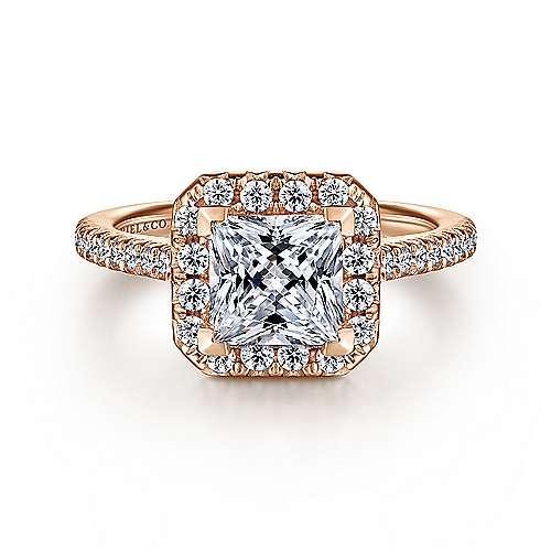 Gabriel - 14k Pink Gold Princess Cut Halo Engagement Ring