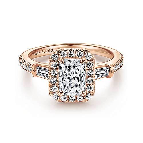 Gabriel - 14k Pink Gold Emerald Cut Halo Engagement Ring