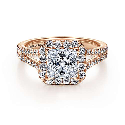 Gabriel - 14k Pink Gold Princess Cut Halo Engagement Ring