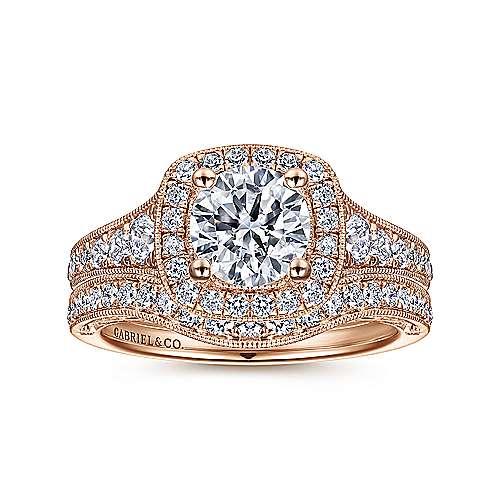 14k Pink Gold Diamond Halo Engagement Ring angle 4