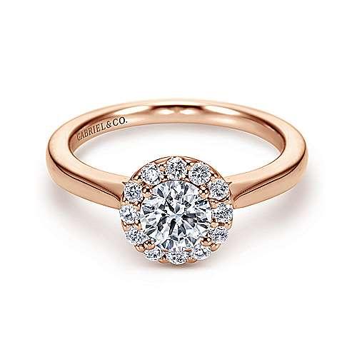 14k Pink Gold Diamond Halo