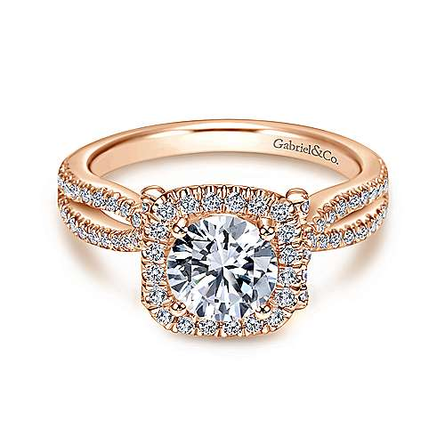 14k Pink Gold Diamond Halo Engagement Ring angle 1
