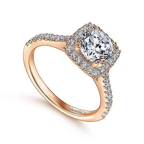 14k Pink Gold Diamond Halo Engagement Ring angle 3