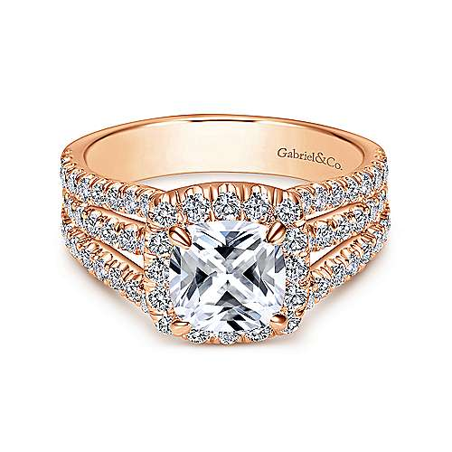 14k Pink Gold Cushion Cut Halo